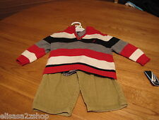 Boys Nautica outfit set 3/6M sweater pull over cord pants LS shirt $69.50 stripe