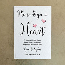 Please Sign a Heart - Personalised Wedding Sign - 260gsm Hammer White Card