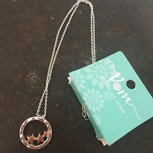 Silver Plated Hoop Rose Gold Stars Necklace POM Boutique