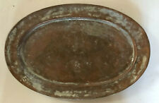 Antique/Vintage Copper Oval Platter Tray Metalware Decor Wall Display Kitchen