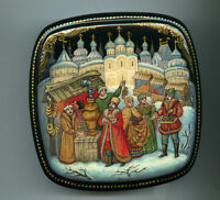 "Russian Lacquer box Mstera. ""Fair."" Hand Painted"