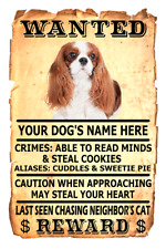 King Charles Spaniel Dog Wanted Poster Flex Fridge Magnet Personalized