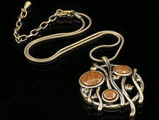 Accessory9 jewelry brown crystal branch round pendant bronze plated necklace N73