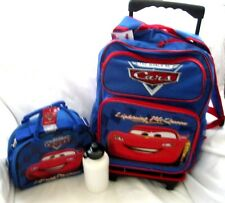 "DISNEY THE CARS MCQUEEN 16"" ROLLING DETACHABLE BACKPACK AND MATCHING LUNCHBOX"