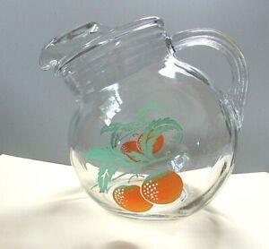 Vtg Juice Tilt Glass Pitcher Oranges Ice Lip Ribbed Handle 1 Qt
