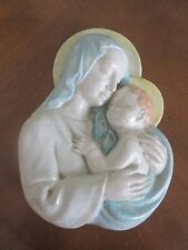 vintage CHALKWARE MADONNA & CHILD Plaque Wall Hanging