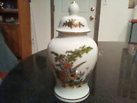 "Fine China Ginger Jar Vase Pheasant, Florals, White w/Gold  8"" Urn"