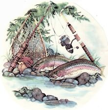 """Trout Fish Fishing Pole 1 pc 7-1/2"""" Waterslide Ceramic Decal Xx"""