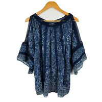 Joy Womens Kaftan Top Plus Size Small Floral Blue Cold Shoulder Gorgeous Top