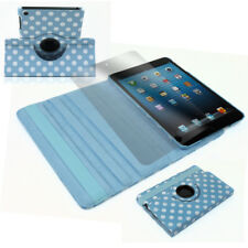 CASE COVER+SCREEN PROTECTOR SWIVEL WAKE/SLEEP PU AQUA BLUE DOT IPAD 2ND 3RD 4TH