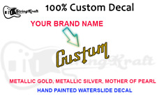 Custom Waterslide Guitar Decal for Headstock. Fibson Style Font. Hand Painted