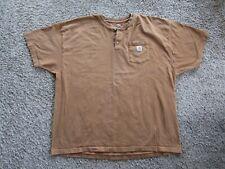 Carhartt Brown 1/4 Button Short Sleeve 100% Cotton T Shirt Men's Size 3XL