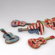 Chic 20Pcs Mixed Guitar Design 2 Holes Wooden Buttons Sewing for Clothing Crafts