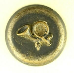 1860s-70s Hunter's Fox Horn Call Silver Plated Coat Sporting Button P8C