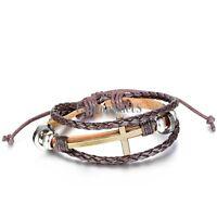 Multilayer Brown Leather Braided Cross Unisex Adjustble Bracelet Wristband Cuff