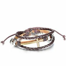 Multilayer Brown Leather Braided Cross Unisex Adjustble Bracelet Wristband Cuff