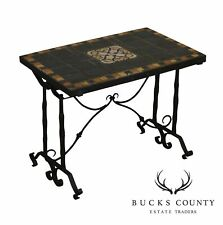 Antique Wrought Iron Mosiac Tile Top Side Table : Hershey Hotel Label