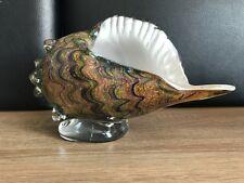 Muranoglas Stil Glaskunst Große Horn Muschel auf Glassockel Auktion