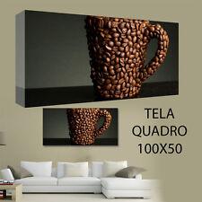 QUADRI MODERNI TELA 100X50 FOOD CAFFE' NAPOLETANO CHICCHI BAR CAFFETTERIA