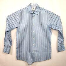 Lacoste Mens Dress Shirt Size 40 Light Blue Striped Cotton Button Down
