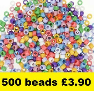 Pony Beads Assorted Colours Barrel Mixed Craft Hair Braiding 9mm x 6mm 500 pack