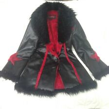 Tripp NYC Black & Red Faux Fur & Leather Jacket Size S