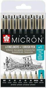 Sakura Pigma Micron Set Black Archival 6 x Fine Liner Pens,1 Brush Pen + FREE PN