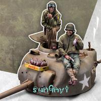 1/35 Unpainted Tank Soldiers Figure War Statue Resin GK Unassembled New
