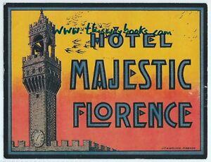 Vintage Luggage Label: HOTEL MAJESTIC FLORENCE -  Italy