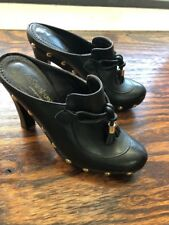 YSL YVES SAINT LAURENT Clogs Black Leather Wood Platform Heel 38