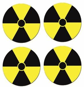 Radiation Symbol Car Decal Sticker (Small, Pack of 4)