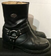 Harley Davidson Boots 👢 84187 Black Leather Ashby Zip Harness Size: 6.5M EUC