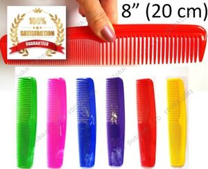 """Gym Bag Wet Hair Comb Large Pocket Comb 8"""" Soft Edged Fine and Coarse Teeth UK"""