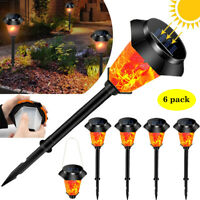 6 Pack Outdoor 12 LED Solar Torch Flickering Flame Light Garden Waterproof Lamp