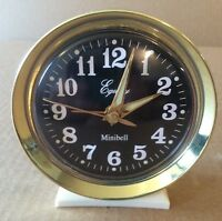 Vintage Equity Minibell  Alarm Clock Wind up Glow in the Dark Face Gold Tone Rim
