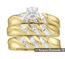 Diamond .07 carat 3-Band 14K Gold Wedding Ring Set bridal bride engagement groom
