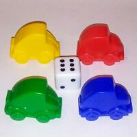 MONOPOLY JUNIOR 4 x Car Playing Pieces Movers And Dice - Replacement Pieces