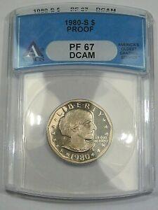 Deep Cameo Proof 1980-s SBA Susan B. Anthony Dollar. ANACS PF67 DCAM.  #5
