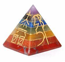 Reiki Energía cargado siete Cristal Chakra une Pirámide Grabado Reiki símbolos