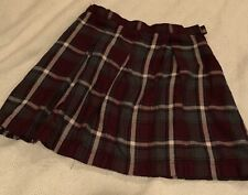 Size 12 Lands End girls uniform skirt pleated burgandy and grey