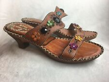 Spring Step Women's 41 ( 9 - 9.5) Slides Sandals Hippie Floral Faux Jewels Boho