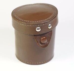 BROWN Leather Lens Case vintage 70x85 mm