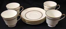 Set of 4 Mikasa Narumi Bryn Mawr Cups & Saucer Bone China Gold Trim 7.5 oz MCM