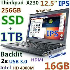 "Thinkpad X230 12.5"" IPS i5-3rd Gen (256GB SSD + 1TB 16GB) Webcam USB-3.0 Backlit"
