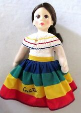 "Doll from Costa Rica~18 1/2"" tall~Cloth Body~ In original plastic zippered case"
