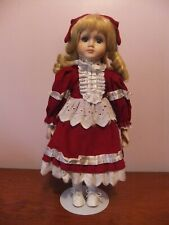"Beautiful Blond Vintage Porcelain Doll on Stand, Approx. 16"" Tall"
