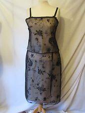 New Asda Black Netting Lace Goldy Cream Evening Skirt & Top Set Size 16 Dress
