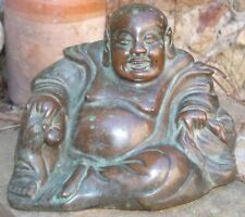 Authentique Porte-Bonheur Large Antique Chinese Moine Bouddha en Bronze 2,3 kgs