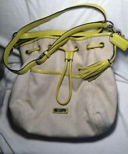 Coach Authentic Drawstring Shoulder Bag in Ivory  with Green Yellow Leather Trim