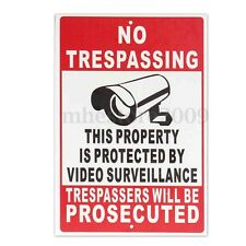 Property Protected By Video Surveillance Warning Security Camera CCTV Sign  /